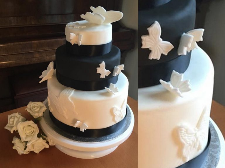 Black And White Butterfly Wedding Cake