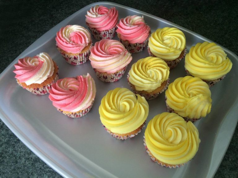 Two Tone Pink and Yellow Frosted Cupcakes