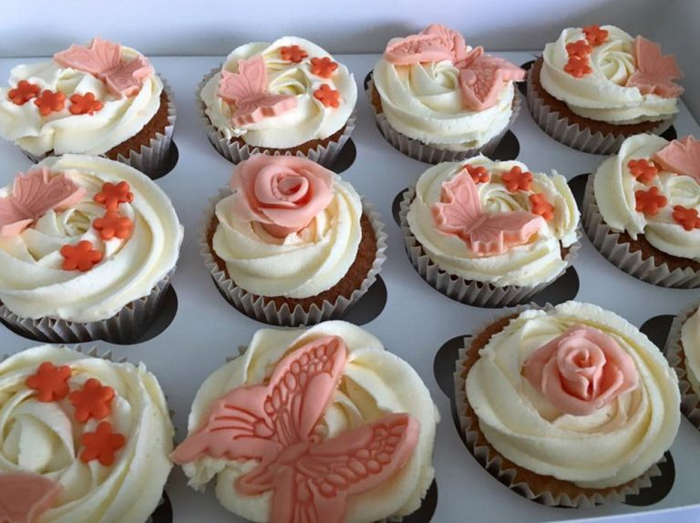 Peach Butterfly Cupcakes