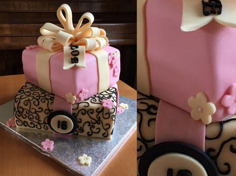 Pink and Cream Ribbon Cake
