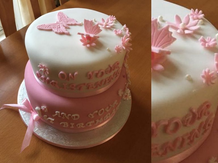Pink and White Flower Cake